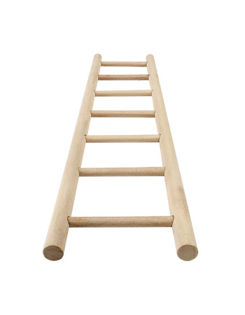 Wooden ladder, vertical isolated stepladder, detailed closeup. photo