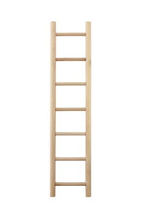 backstairs: Scaletta di legno, verticale isolato scala a pioli, primo piano dettagliato. Archivio Fotografico