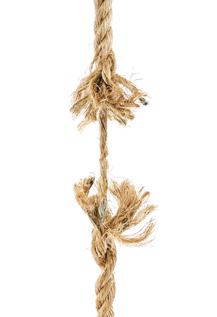 Torn rope isoalted on a white background photo
