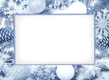 Christmas frame in cold tones for greeting card Standard-Bild