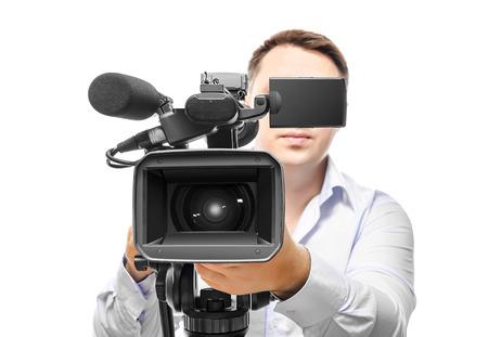 비디오 카메라 연산자 흰색 배경에 고립 스톡 콘텐츠