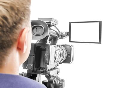 비디오 카메라 연산자는 흰색 배경에 고립입니다. 화면에 초점을 맞 춥니 다. 스톡 콘텐츠