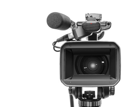 Professional video camcorder isolated over white Banco de Imagens