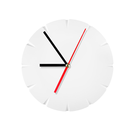 timezone: Wall clock isolated on a white background. Stock Photo