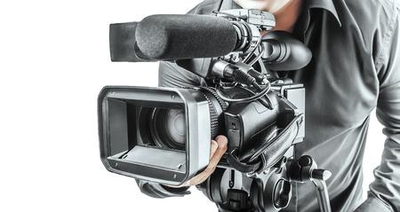 Opérateur de vidéo isolé sur un fond blanc Banque d'images - 34087709