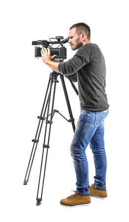 비디오 카메라 연산자는 흰색 배경에 고립