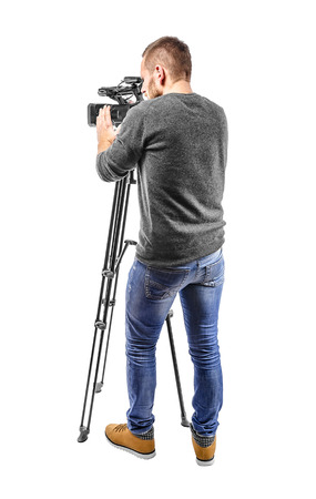 camera: Video camera operator isolated on a white background
