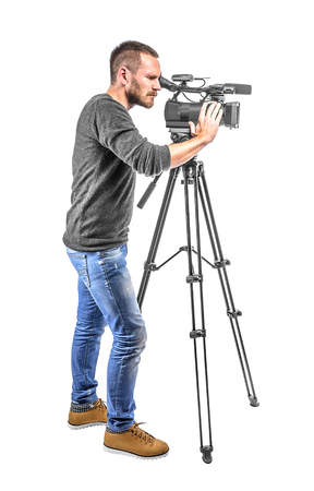 camera operator: Video camera operator isolated on a white background