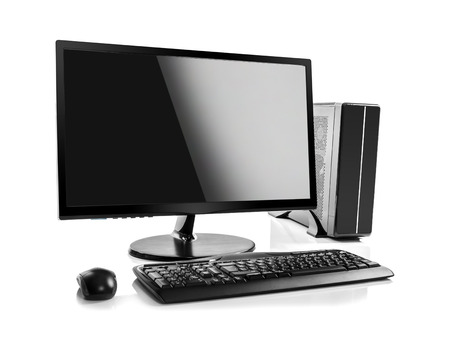 laptop computer: Desktop computer and keyboard and mouse on white