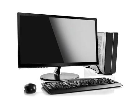 Komputer stacjonarny i klawiatury i myszy na białym tle Zdjęcie Seryjne