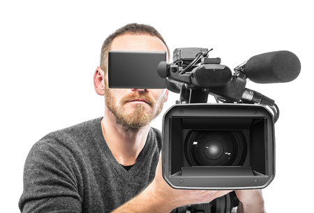footage: Video camera operator filmed. Isolated on white background. Stock Photo