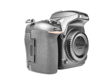 fx: UZHGOROD, UKRAINE - February 20, 2015: Nikon D750 camera body, the first digital SLR camera FX in Nikons history with swivel screen Editorial