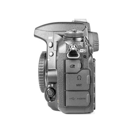 fx: UZHGOROD, UKRAINE - February 20, 2015: Nikon D750 camera body, the first digital SLR camera FX in Nikons history with swivel screen