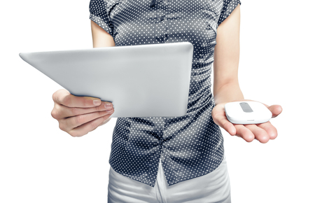 lte: Mobile router with tablet pc. 3G or LTE network concept. Stock Photo