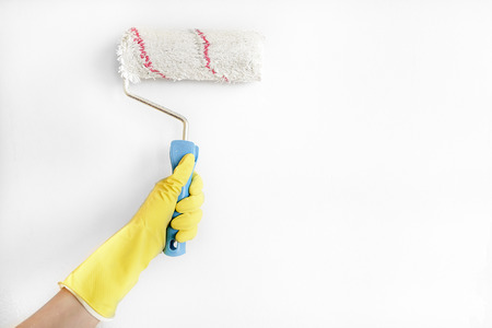 roller brush: Young woman painting wall with roller brush.