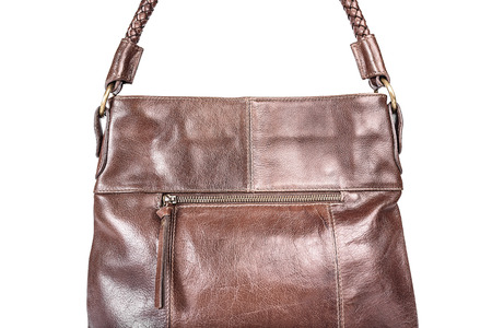 vanity bag: Brown leather handbag isolated isolated on white background