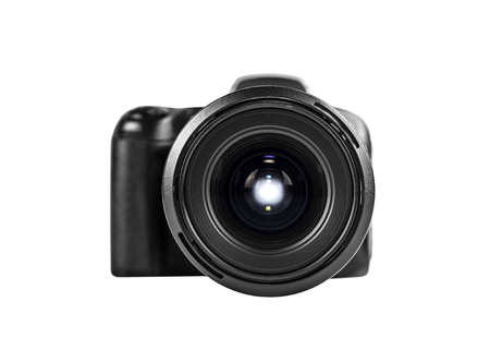 professional digital photo camera isolated on white. photo