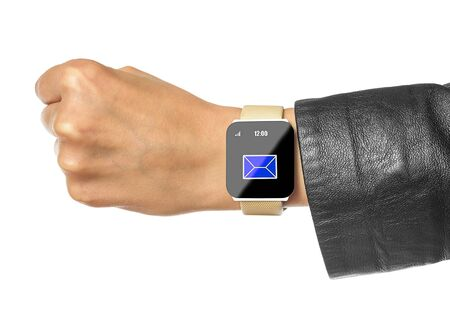 Smart watch. Isolated female hands with black smart watch. photo