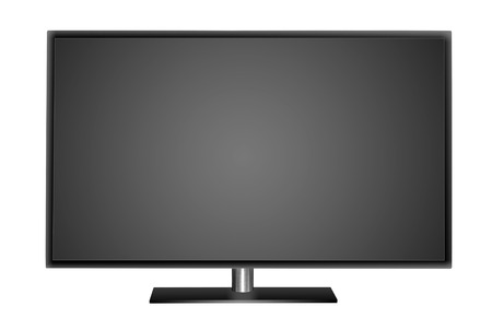 Modern blank flat screen TV set. Isolated on white background.