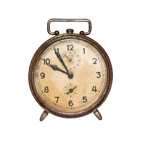 Old, retro alarm clock isolated on white. photo