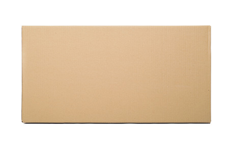 Closed cardboard box taped up and isolated on a white background. 스톡 콘텐츠