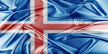 iceland flag: Iceland Flag. Flag with a beautiful glossy silk texture. Stock Photo