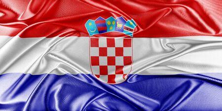 bandera croacia: Bandera de Croacia. Bandera con una hermosa textura de seda brillante.