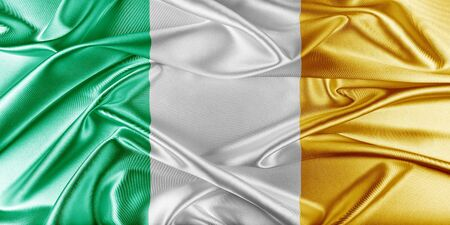 Ireland Flag. Flag with a beautiful glossy silk texture. photo