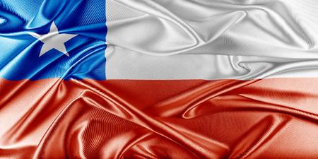 bandera de chile: Bandera de Chile. Bandera con una hermosa textura de seda brillante.