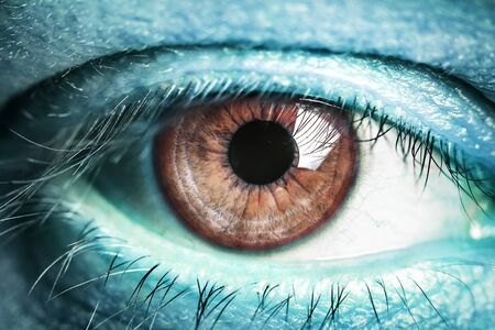 looking through an object: Eye of the alien. Eye of extraterrestrial creatures with blue skin.