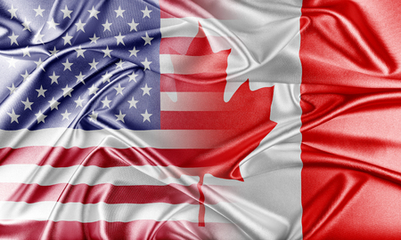 united states flags: USA and Canada. Relations between two countries. Conceptual image.