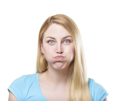 pout: Portrait of a beautiful young blonde woman making pout