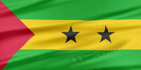 principe: Santo Tomé y Príncipe Bandera. Bandera con una hermosa textura de seda brillante. Foto de archivo