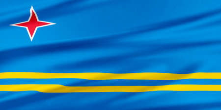 aruba flag: Aruba Flag. Flag with a beautiful glossy silk texture. Stock Photo