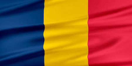 chad: Chad Flag. Flag with a beautiful glossy silk texture.