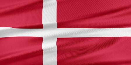 denmark flag: Denmark  Flag. Flag with a beautiful glossy silk texture. Stock Photo