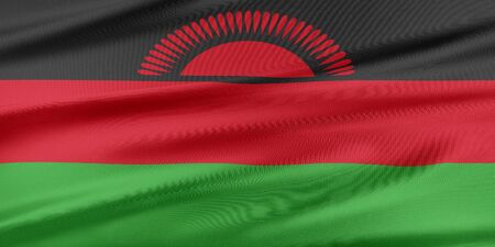 malawi flag: Malawi Flag. Flag with a beautiful glossy silk texture. Stock Photo