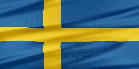 bandera suecia: Bandera de Suecia. Bandera con una hermosa textura de seda brillante.