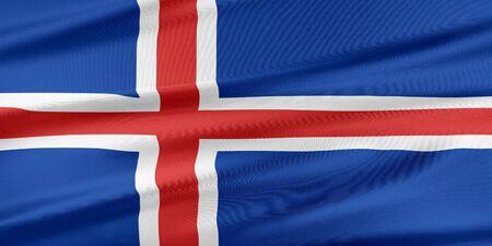 flag of iceland: Bandera de Islandia. Bandera con una hermosa textura de seda brillante. Foto de archivo