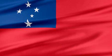 samoa: Samoa Flag. Flag with a beautiful glossy silk texture.