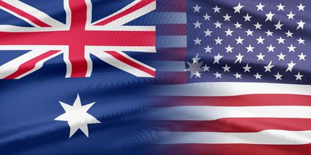 usa flags: Relations between two countries. USA and Australia
