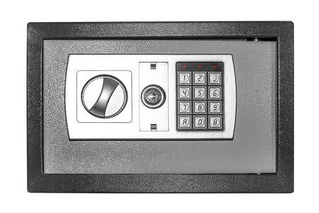 caja fuerte: Pequeño segura aislado en un fondo blanco. Foto de archivo