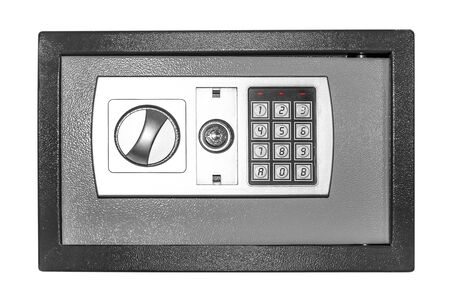 combination safe: Small safe isolated on a white background. Stock Photo