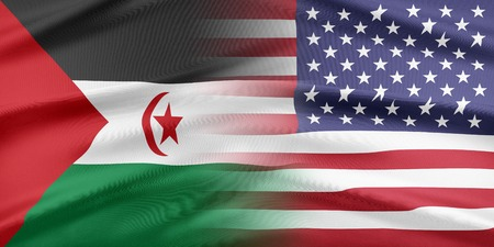 western usa: Relations between two countries. USA and Western Sahara Stock Photo