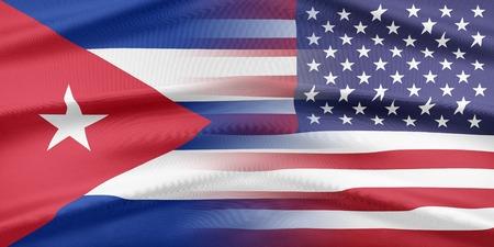 bandera cuba: Las relaciones entre los dos pa�ses. EE.UU. y Cuba Foto de archivo