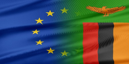 zambia: European Union and Zambia. The concept of relationship between EU and Zambia. Stock Photo