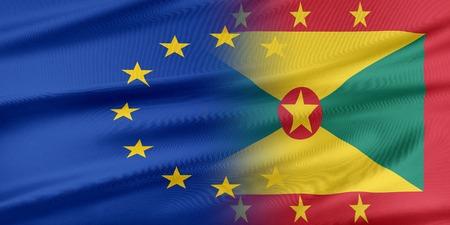 grenada: European Union and Grenada. The concept of relationship between EU and Grenada. Stock Photo