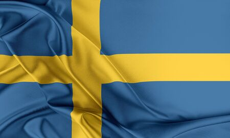 bandera suecia: Sweden Flag. Flag with a beautiful glossy silk texture.