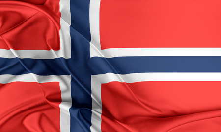norway flag: Norway Flag. Flag with a beautiful glossy silk texture. Stock Photo