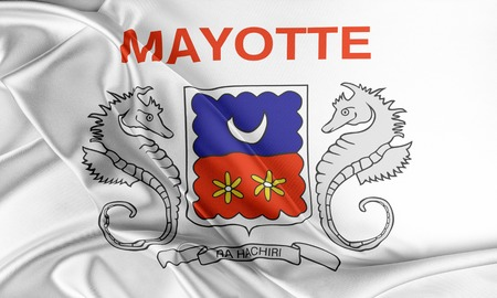 mayotte: Mayotte Flag. Flag with a beautiful glossy silk texture.